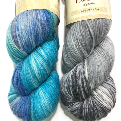 Diamond Luxury Foot Loose sock yarn in color 12 and color 11