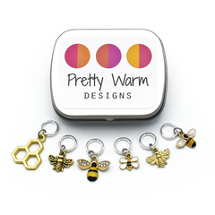 Honey Bee Ring Stitch Markers with decorative storage tin by Pretty Warm Designs