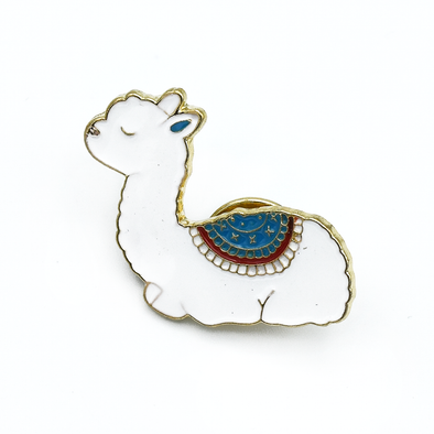 White and multicoloured enamel on gold toned metal alpaca pin by Pretty Warm Designs
