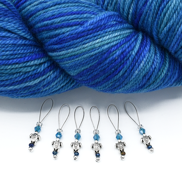 Set of six small silver turtle beads, turquoise crystal beads, glass seed beads stitch markers with yarn for knitting by Pretty Warm Designs