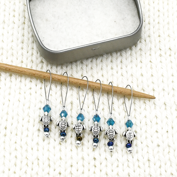 Set of six small silver turtle beads, turquoise crystal beads, glass seed beads stitch markers on needle with tin for knitting by Pretty Warm Designs
