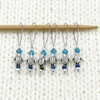 Set of six small silver turtle beads, turquoise crystal beads, glass seed beads stitch markers on needle for knitting by Pretty Warm Designs