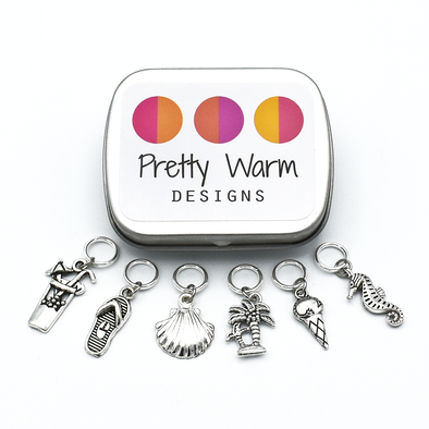 Set of six silver toned beach themed charms snag free ring stitch markers with tin for knitting by Pretty Warm Designs