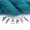 Set of six silver toned beach themed charms snag free ring stitch markers with yarn for knitting by Pretty Warm Designs