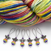 Set of six antiqued silver bee beads, rainbow acrylic beads and glass seed beads on nylon coated wire, snag free stitch markers with yarn for knitting by Pretty Warm Designs