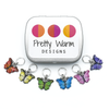 Set of six enamel butterfly charm snag free ring stitch markers in red, yellow, green, blue, pink and purple with storage tin for knitting by Pretty Warm Designs