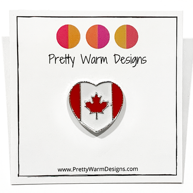 Red and white enamel on heart shaped silver metal Canadian flag pin for project bags by Pretty Warm Designs