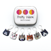 Set of six cat charms locking stitch holders with decorative tin for crochet and knitting by Pretty Warm Designs