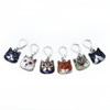 Set of six cat charms locking stitch holders for crochet and knitting by Pretty Warm Designs