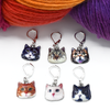 Set of six cat charms locking stitch holders with yarn for crochet and knitting by Pretty Warm Designs