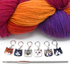 Set of six cat charms locking stitch holders with yarn and hook for crochet and knitting by Pretty Warm Designs