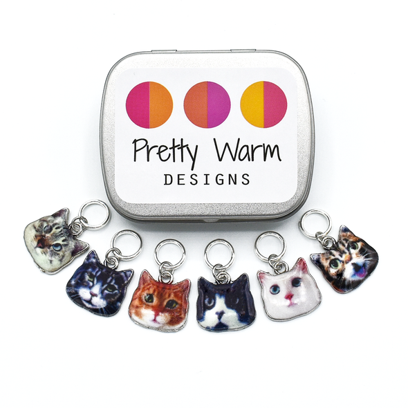 Set of six photo enamel cat charms snag free ring stitch markers with tin for knitting by Pretty Warm Designs