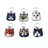 Set of six photo enamel cat charms snag free ring stitch markers for knitting by Pretty Warm Designs
