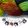 Set of six photo enamel cat charms snag free ring stitch markers with yarn for knitting by Pretty Warm Designs