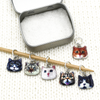 Set of six photo enamel cat charms snag free ring stitch markers on needle with tin for knitting by Pretty Warm Designs