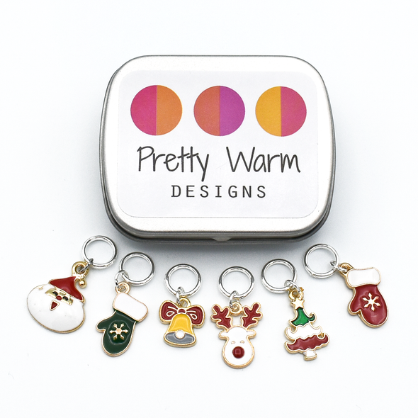 Set of six enamel Christmas themed charms snag free ring stitch markers with tin for knitting by Pretty Warm Designs