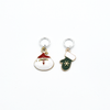 Two enamel Santa and green mitten charms snag free ring stitch markers for knitting by Pretty Warm Designs