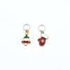 Two enamel Christmas tree and red mitten charms snag free ring stitch markers for knitting by Pretty Warm Designs
