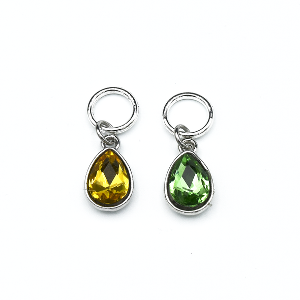 Set of two rhinestones in amber and green set in silver toned snag free ring stitch markers for knitting by Pretty Warm Designs