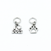 Silver toned I Love Dogs and paw print charms snag free ring stitch markers for knitting by Pretty Warm Designs