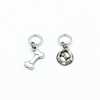Silver toned dog bone and food bowl charms snag free ring stitch markers for knitting by Pretty Warm Designs