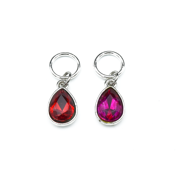 Set of two rhinestones in red and pink set in silver toned snag free ring stitch markers for knitting by Pretty Warm Designs