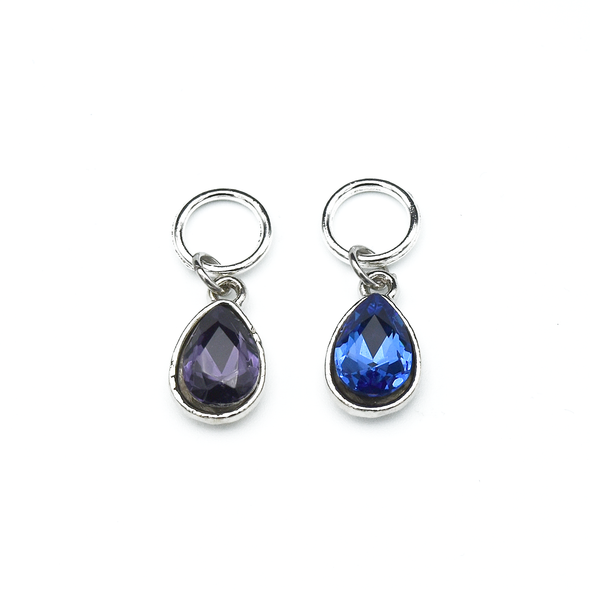 Set of two rhinestones in purple and blue set in silver toned snag free ring stitch markers for knitting by Pretty Warm Designs