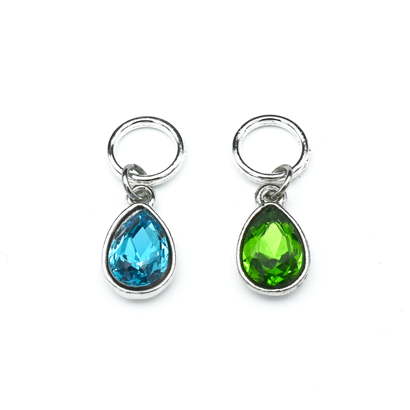 Set of two rhinestones in turquoise and green set in silver toned snag free ring stitch markers for knitting by Pretty Warm Designs