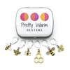 Set of 6 honey bee themed enamel charms locking crochet stitch markers for crochet with decorative tin by Pretty Warm Designs