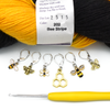 Set of 6 honey bee themed enamel charms locking crochet stitch markers for crochet with yarn and hook by Pretty Warm Designs