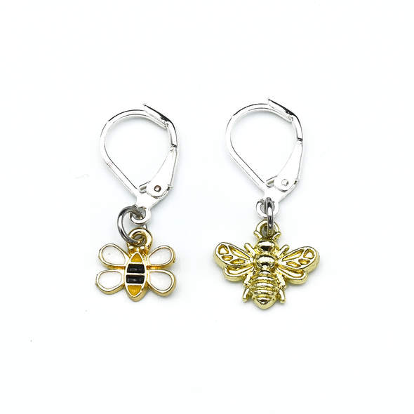 Two bee themed enamel charms locking crochet stitch markers for crochet by Pretty Warm Designs