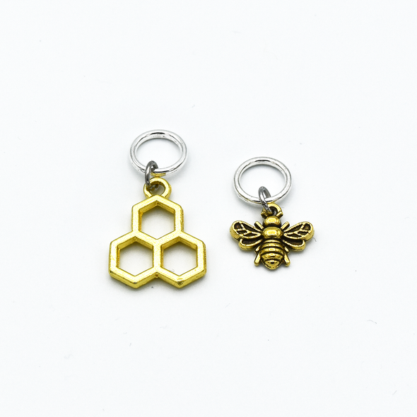 Gold toned honeycomb and bee charms snag free ring stitch markers for knitting by Pretty Warm Designs