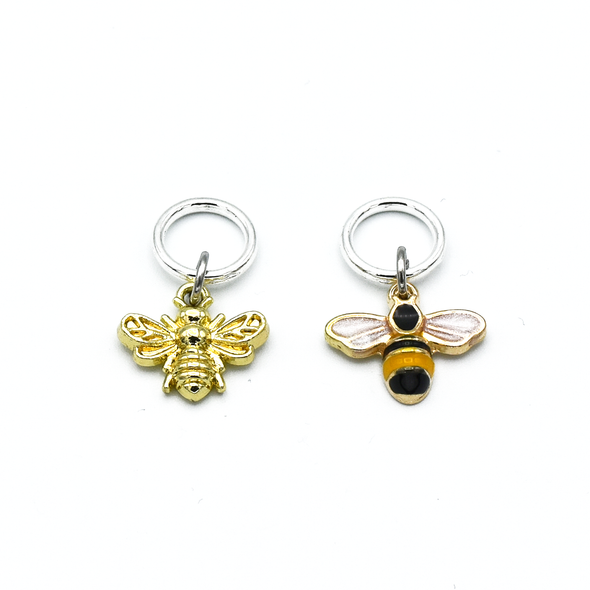 Two gold toned bee charm snag free ring stitch markers for knitting by Pretty Warm Designs