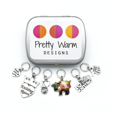 Set of six knitting themed charms snag free ring stitch markers with tin for knitting by Pretty Warm Designs
