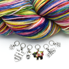 Set of six knitting themed charms snag free ring stitch markers with multi-coloured yarn for knitting by Pretty Warm Designs