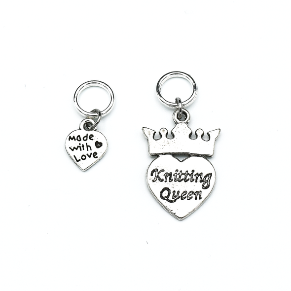 Two knitting themed silver toned charms snag free ring stitch markers for knitting by Pretty Warm Designs