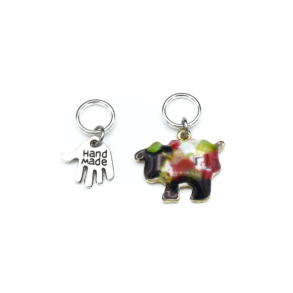 Two knitting themed charms snag free ring stitch markers for knitting by Pretty Warm Designs