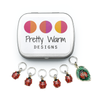 Set of five red and black enamel ladybug and one red, black and green ladybug on a leaf charms snag free ring stitch markers with tin for knitting by Pretty Warm Designs