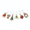 Set of six different Christmas themed charms locking stitch holders for crochet and knitting by Pretty Warm Designs