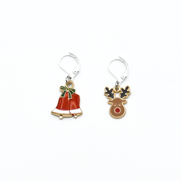 Two Christmas bells and reindeer charms locking stitch holders for crochet and knitting by Pretty Warm Designs