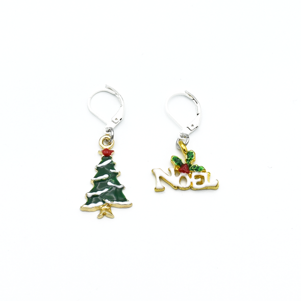 Two Christmas tree and Noel charms locking stitch holders for crochet and knitting by Pretty Warm Designs