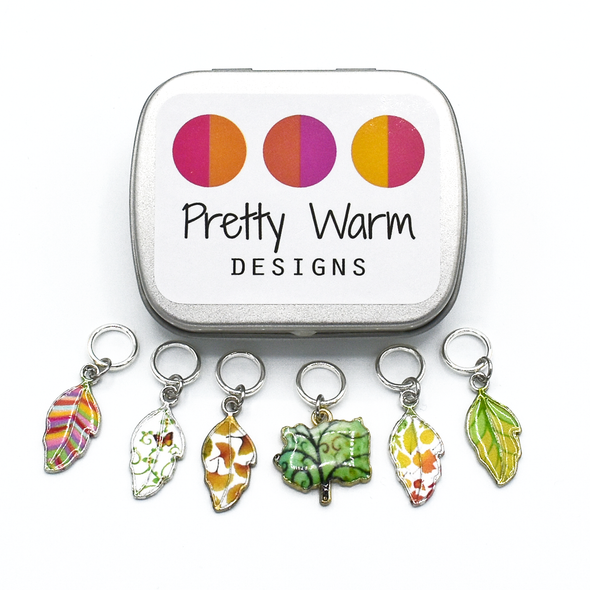 Set of six multi coloured enamel leaf and tree charms snag free ring stitch markers with tin for knitting by Pretty Warm Designs