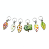 Set of six multi coloured enamel leaf and tree charms snag free ring stitch markers for knitting by Pretty Warm Designs