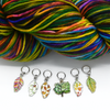 Set of six multi coloured enamel leaf and tree charms snag free ring stitch markers with yarn for knitting by Pretty Warm Designs