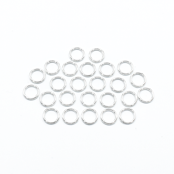 Set of 25 medium silver ring snag free stitch markers  for knitting by Pretty Warm Designs