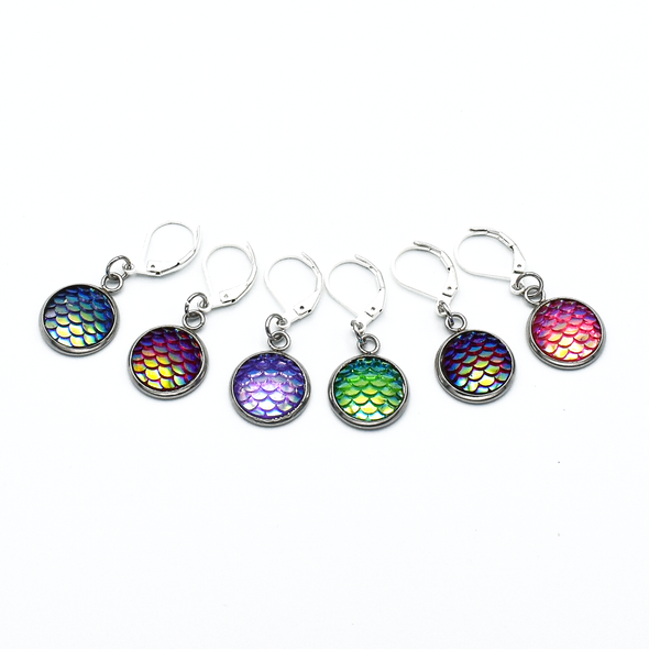 Set of six iridescent mermaid scale locking stitch markers for crochet by Pretty Warm Designs