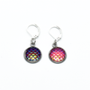 Two iridescent mermaid scale locking stitch markers for crochet by Pretty Warm Designs