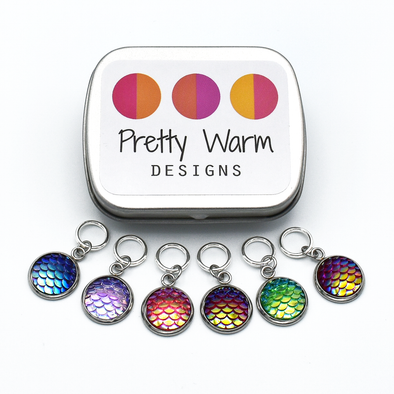 Set of six iridescent mermaid scales snag free ring stitch markers with tin for knitting by Pretty Warm Designs