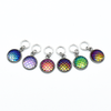 Set of six iridescent mermaid scales snag free ring stitch markers for knitting by Pretty Warm Designs