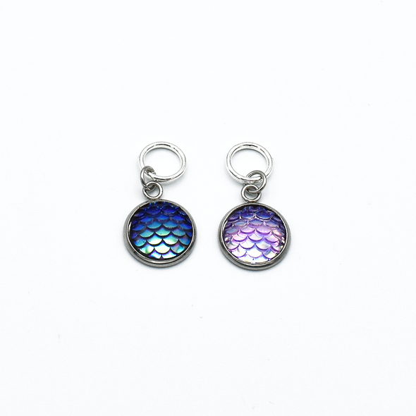 Two iridescent mermaid scales snag free ring stitch markers with tin for knitting by Pretty Warm Designs